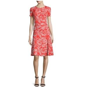 St. John Geranium/Putty Floral Jacquard Knit Dress